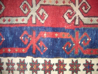 Small jewel 19th Century Anatolian Kirsehir Yastik rug,good condition,nice desigen and natrul colours,soft shiney wool,some old repair,Hand washed ready for use.E.mail for more info.