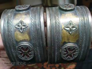 Kazak ? or Turkmen ?Silver Bracelet Pair,19th century,all good condition,stones are in good condition,very fine work of art,beautiful pcs.E.mail for more info.