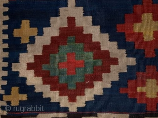 ANTIQUE CAUCASIAN KILIM, SUPERB DESIGN & COLOUR, SMALL SIZE, CIRCA 1900