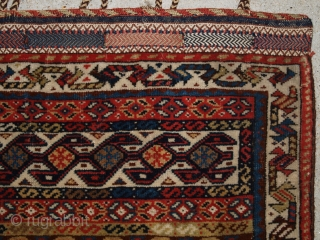 Antique Persian tribal Qashqai bag face of fine weave and good colour with plain weave back. 