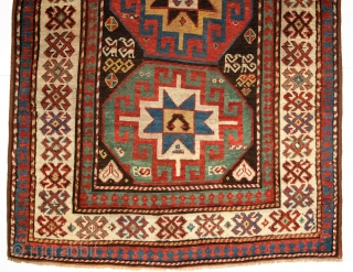 Kazak with Memlinc guls within octagons, 2nd half 19th century. Size: 201 x 112cm.