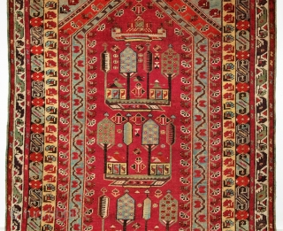 A good 19th century Turkish Kirsehir village prayer rug, Size: 170 x 113cm.