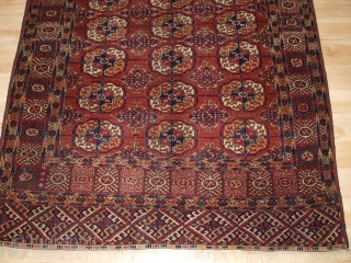 www.knightsantiques.co.uk   Antique Tekke Turkmen rug of small size, with fine weave, superb colour.  Late 19th century.  Size: 5ft 0in x 3ft 9in (152 x 115cm).  This is an good example of a Tekke rug with  ...