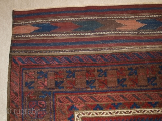 A very good Western Afghan Baluch main carpet great colours and long kilim ends. 370 x 200cm.