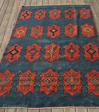 (12) Avar kilim (Daghestan), 129 x 226 cm. Striking ornaments, all natural dyes, blue field has one old apparent re-woven area which some think is original. Edges and fringes have been secured.  ...