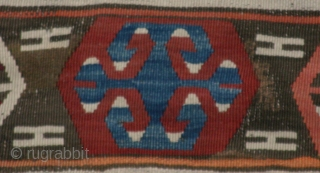 (65) Konya area kilim, 144 x 196 cm, mid-19th c. This work of art has magnificent presence and a hefty handle. Its subtle variety in design elements and color combinations is relaxing  ...