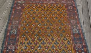 (43) Daghestan/Derbent rug, early 20th c., 121 x 156 cm., high pile overall, nice abrash and very silky wool, floppy but robust handle. Offers warm and comfortable utility with dignity. A VERY  ...