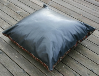 {24} Antique Shiraz Bagface with charming animal elements, 125x117, backing is high-quality, black cowhide with zipper. Inner pillow is quite heavy, so I would suggest taking delivery of bag only. One small  ...