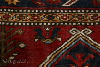 (8) Fachralo Kazak, 243 x 162 cm., ca. 1930, excellent condition, light even wear, saturated colors, some non-organic dyes used, no repairs, recently washed and fringes secured. A very appealing, semi-antique rug  ...