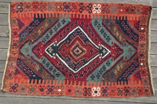 {66} Malatya small Kilim, 90 x 133 cm., late 19th c., w/ cotton and metal threads. Vibrant, saturated natural dyes. A small treasure in terms of drawing and color palette. Attention: reduced  ...