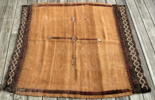 {69} Kamo (Muteh) Sofreh, 119 x 114 cm, original condition antique, a few small holes, very fine brocaded ends, flatweave of wool and cotton with piled highlights. (similar piece published as #49  ...
