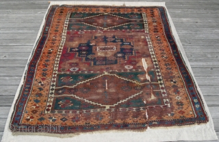 {46) 130 x 194 cm. This early 20th c. (perhaps late 19th c.) Kurdish rug from Antep is expertly mounted on linen to preserve its structure. Astoundingly soft wool. Workmanship is superb,  ...