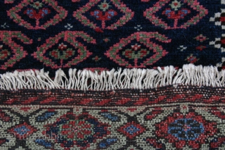 {89} 68 x 59 cm. Rare, green-border Afshar bag face. Full pile, cotton warp, double-wefted, good colors, selvage added. For sale at cost.