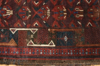 Rare, possibly unique Beludj, 212 x 106 cm., large tent rug with fine weave and strong color palette, featuring what appears to be a repeating architectural motif in the field and a  ...