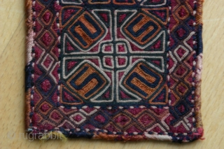 {68} Jomud talisman (armband?), 7 X 19 cm, silk stitching with cotton backing. Precious.