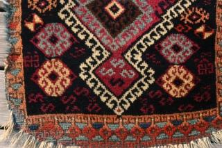 "{77} Kurd Yastik, 45 X 81 cm, in decent condition for its age, stunning ""modern"" design, unrestored.  -Kolya"