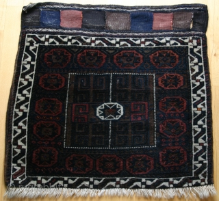 "(25) Beludj/ Timuri-group bag face, 75 x 78 cm., featuring ""Jewel of Mohammed"" 8- pointed star as the central gul and repeated in the main border. The central field surrounding the gul  ..."