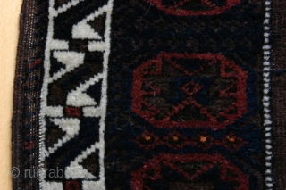 """(25) Beludj/ Timuri-group bag face, 75 x 78 cm., featuring """"Jewel of Mohammed"""" 8- pointed star as the central gul and repeated in the main border. The central field surrounding the gul  ..."""