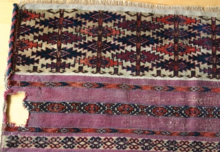 (45) Tekke Ak çuval fragment - 62 x 86 cm. - featuring the ashyk (bone oracle) motif in the pile-faced skirt. Purple dye in the flat woven bands is quite attractive. One  ...