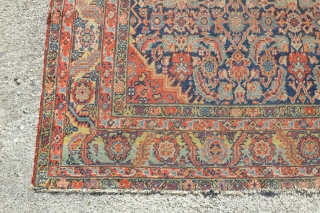 "Antique Bakshaish Kelleh rug, wool on cotton with wonderful natural colors. Size 6'10"" x 12'8"". very worn with reduction to ends and small splits. Damage to sides It appears to have been  ..."