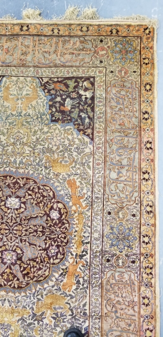 Antique Turkish Silk Herekeh, size 4.3 X 6.6 with metallic silver treade in blue color, woven in high light around the flowers and Arabic writing on the border and through out the  ...