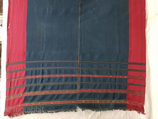 Waziri Shawl (Indigo Blue Colour) for Man From Waziristan, Pakistan. India.C.1900.Natural Dye with Hand Woven Cotton and silk ends,with silk end borders.Its size is 160cmX270cm(20180105_113339 New).