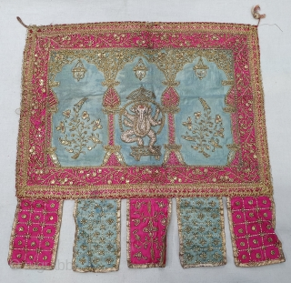 Ceremonial Temple Hanging Toran (Wall Decoration) From Northern India. India. Real Zari  Zardozi Embroidery on Silk With real Zari Gota work Fringed. Showing the Lord Ganesh with Kalap Virishak (Tree).C.1900. Its  ...