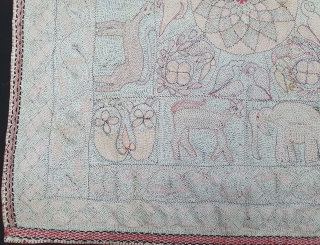 Rare Folk Kantha Quilted and embroidered cotton Kantha Probably from West Bengal region of India, India.C.1900. Its size is 86cmX87cm (20210102_152225).