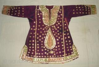 Ceremonial Women's Costume,From Himachal Pradesh India.C.1900.Silk ground with Real Zari Gota Pati work.Its size is L-76cm, W-60cm, S-17X45cm (DSC07199 New).