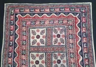 Kalamkari Block Print Canopy, Probably from Kutch Gujarat, India. India,C.1875.Mordant-And Resist-Dyed, Hand Spun Thick Khadi-Cotton, Its size is 150cmX163cm(20210113_145409).
