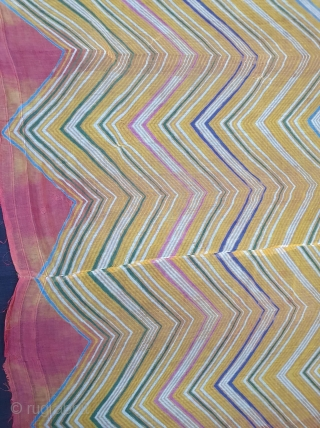 Muslin Dupatta (Odhani)tie-dyed in multiple colours in lahariya (wave) style, From Shekhawati District of Rajasthan. India. c.1900.Its size is 145cmX245cm(20210113_150405).