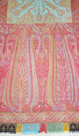 Tree of Life design Kalamkar Jamawar long Shawl Showing the, twelve different variation of colour combination From Kashmir, India. India.C.1840.Its Size is 145cmX335cm(DSC08866).