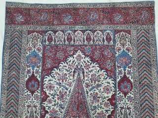 Kalamkari Palampore from South India. India. Made for Export Market, Printed cotton with exotic birds, peacocks, tigers, stylized mountain and cypress trees all within mihrab. Surrounded by lozenge border Cotton backing. Late  ...