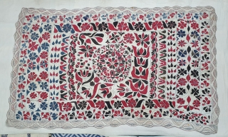 Kantha Quilted and embroidered cotton kantha Probably From East Bengal(Bangladesh) region, India.C.1900. Its size is 110cmX180cm. Very Good Condition(20200213_143915).