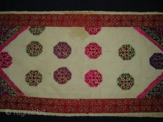 Pillow-Cover,Swat Valley(Pakistan). India.Cotton embroidered with floss silk.with woolen Braiding and Tassels.C.1900.Its size is 39cm x 82cm(DSC02797 New).