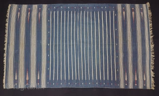 Jail Dhurrie(Cotton)Blue-White striped with mahi motif. Bikaner, Rajasthan. India.C.1900.Its size is 115X195cm. Condition is very good(173742).