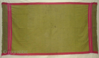 Waziri the Man's Shawl From Waziristan, Pakistan.Woven Cotton and silk ends,with silk end borders.Its size is 123cmX223cm. Early 20th Century.Good Condition(DSC04781 New).