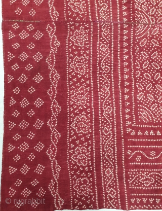 Ceremonial Tie and Dye Odhani(Shawl),Tie and Dye Work on the Khadi-Cotton From Kutch Region of Gujarat, India. c.1900. Its size is 166cmX213cm. This were Traditionally used mainly by Lohana community in Kutch(20200317_155228).
