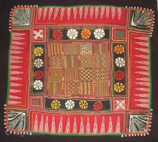 Ceremonial Banjara Baby Jolna From Madhiya Pradesh. India. Known As Jolna. Finely Embroidered And Applied work Banjara Jolna. c.1900. Its Size is 88cmX95cm(DSC04726 New).