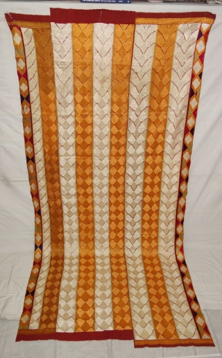 Phulkari From West(Pakistan)Punjab. India.known As Lahariya Design Bagh,With Rare influence of Panch Rangi Side Borders. Handspun cotton plain weave (khaddar) with silk and cotton embroidery.Its size is 115cmX250cm(DSC07878).