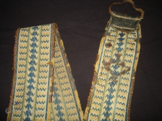 Lahariya Design Tung The Camel Decoration Belt From Rajasthan, India.Made on cotton and in Indigo Blue Colour. C.1900. Its size is 10cmx270cm(DSC04890 New).