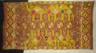 Phulkari From East(Punjab) India.Known as Darshan Dwar. Showing the Folk Culture and Art of Punjab.C.1900.Its size is 120cmX230cm(DSC04904 New).
