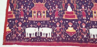 Ikat Temple Hanging,Known as Pidan Temple Hanging,From the Khmer Tribe of Cambodia.Southeast Asia.Silk Weft Ikat. C.1900.Its size is 95cmX110cm. Natural Colours(20190504_161507).