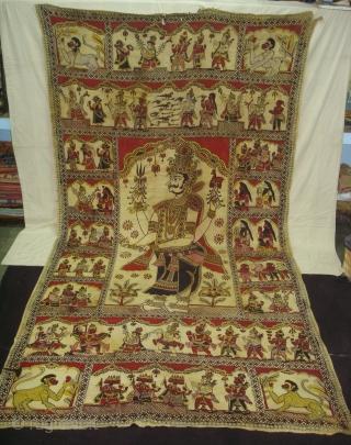 Ramayana Temple hanging Kalamkari,From Andhra Pradesh, India. Kalamkari On Khadi Cotton, Vegetable Colours. C.1800. Its Size is 185cmX355cm(DSC05017 New).