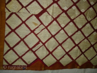 Phulkari From West(Pakistan)Punjab. India.known as Chand Bagh.C.1900. Very Rare influence of Nazar buti in the Middle(DSC04820 New).