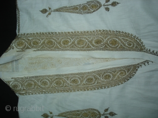 Man's robe(angarkha),Zari (real) embroidered on muslin cotton,From Deccan South, India.Its size is L-108cm,S-16X64cm,Around circle size is 226cm.