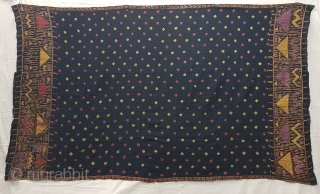 Indigo-Colour Phulkari From East(India)Punjab Region of India. India.Silk on Indigo Dyed Hand Spun Cotton ground.C.1900(125311).