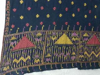 Indigo-Colour Phulkari From East(India)Punjab Region of India. India.Silk on Indigo Dyed Hand Spun Cotton ground.C.1900(125311).