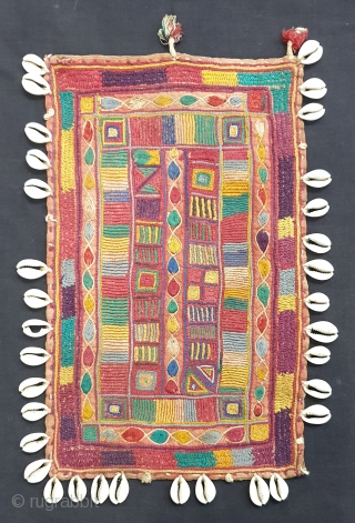 Rare Ceremonial Banjara Gala From Karnataka,South India. India.Embroidered on cotton. Gala is traditionally used by women to carry pots on their heads.C.1900.Its size is 21cmX33cm(20190602_160804).