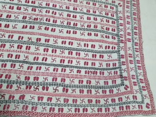 Rare Ram Navmi Kantha,(Showing the Swastika and Foot of Rama) Quilted and embroidered cotton kantha with cotton embroidery, Probably From West Bengal(India)Region. India.C.1900. Its size is 100cmX150cm(20200530_151611).